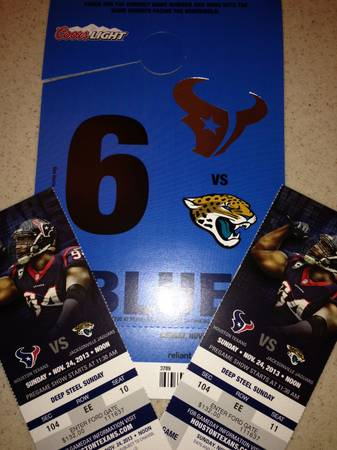 Pair of LL Texans vs Jaguars Tickets with Blue parking pass - $450 (sec 104)