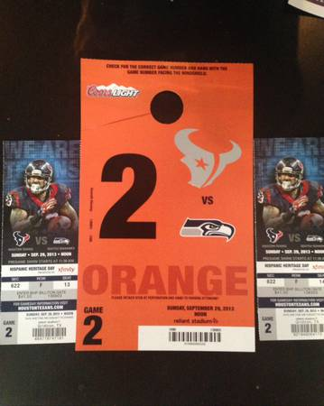 2 Texans vs Seahawks tickets with parking pass (orange lot) - $150 (inner loop)