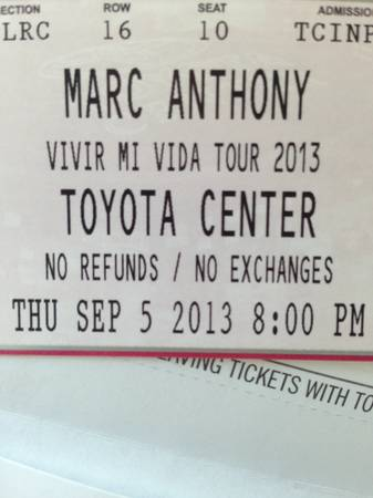 MARC ANTHONY TICKETS TOYOTA CENTER SEP 5th (SW HOUSTON)