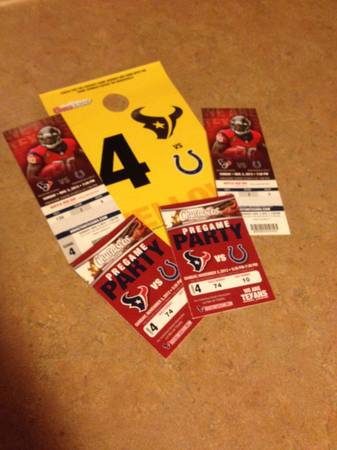 REDUCED PRICE (2) TEXANS VS COLTS WCHURRASCOS PARTY  PARKING PASS - $200 (KATY)