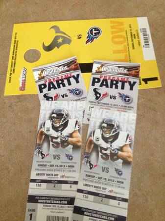 TEXANS VS TITANS WCHURRASCOS  PARKING PASS - $1 (KATY)