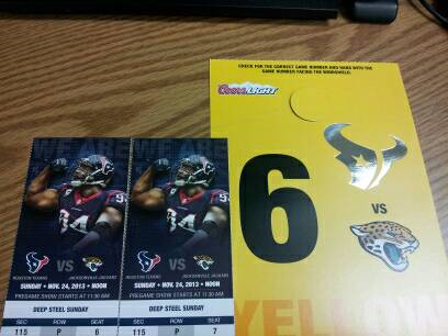 TEXANS VS JAGUARS 2 FIELD LEVEL TIX WYELLOW PARKING PASS - $400 (290W FM1960)