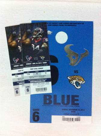 Texans vs Jaguars 2 tickets blue parking pass - $285 (Section 134)