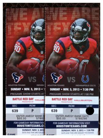 2 Houston Texans vs Colts Tickets SNF PRICE REDUCED - $100 (Houston)