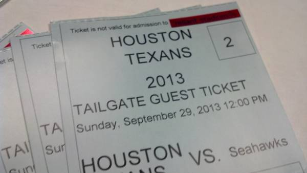 Texan vs Seahawks Tailgating Tickets - $160 (Spring TX)