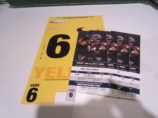 Texans vs Jaguars Nov 24 (4) Superb Hard Tickets Parking Pass - $1 (Houston)