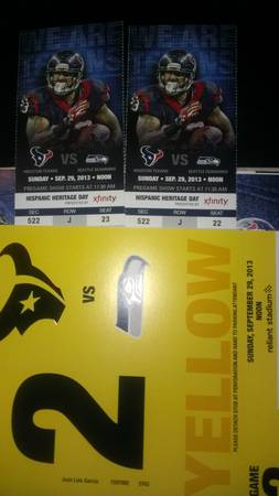 seahawks vs texans tickets parking pass included - $300 (northwest)