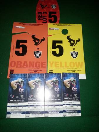 Houston Texans individual game tickets all games lower level OBO  - $200 (UH or Cypress)