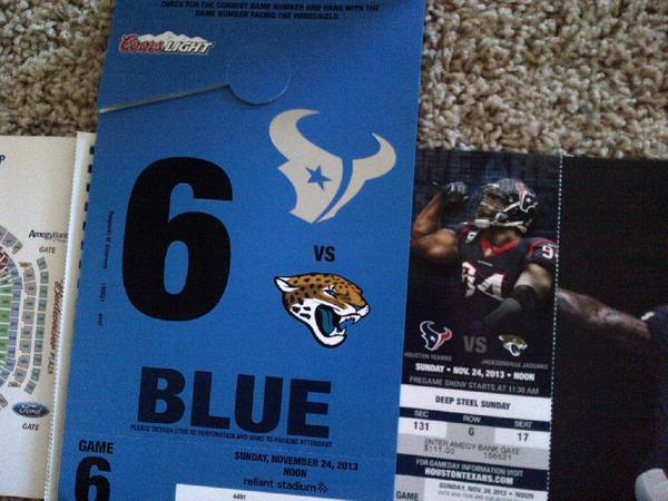 2 Tix-Sec 131 Row G - Jack. Jaguars vs Houston Texans 11242013 - $300 (Katy, Galleria, Downtown)
