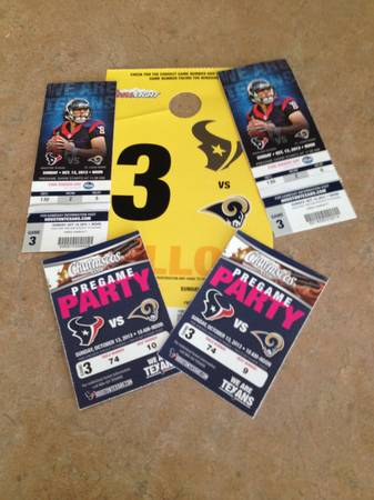 TEXANS VS RAM PINK RIBBON DAYWCHURRASCOS PASSESPARKING PASS - $1 (KATY)