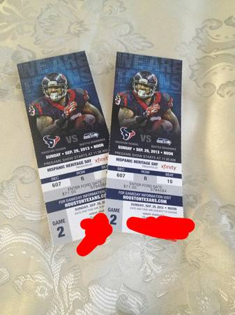 Texans vs Seahawks 150 for 2 tickets - $150 (l-10 and TC JESTER)