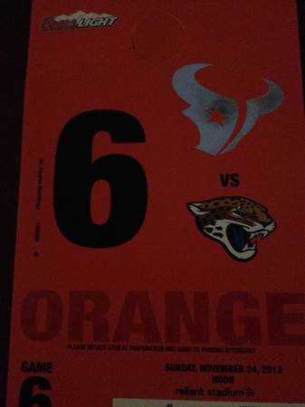 Texans vs Jaguars Orange Parking Pass - $50 (Spring)
