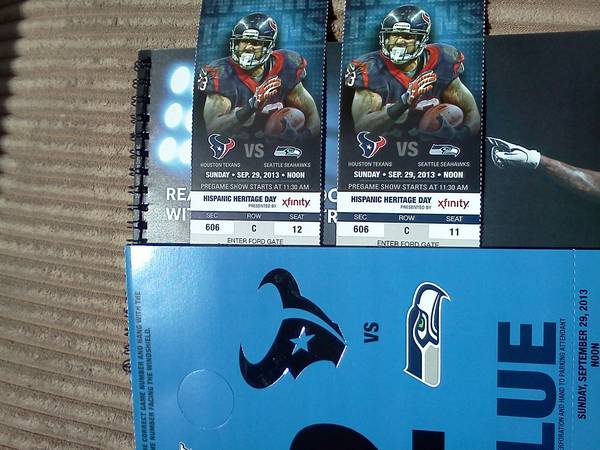 (2) Texans vs. Seahawks3rd rowBlue Lot Pass $300 for ALL - $300 (Sec 606 Row C 11 12)