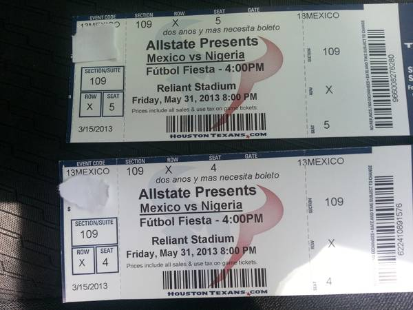 mexico vs nigeria boletos - $120 (houston)