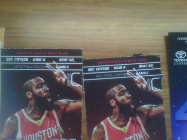 2 Courtside tickets on the Floor Rockets Tickets - $4500 (Downtown)