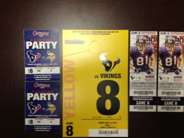 Texans Package 122312 - $1 (vs Vikings (Houston, TX))