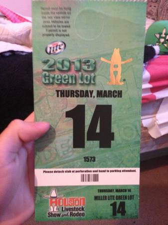 2013 Houston Rodeo Parking Pass (Green Lot) March 14, 2013 - $30 (SW Houston)