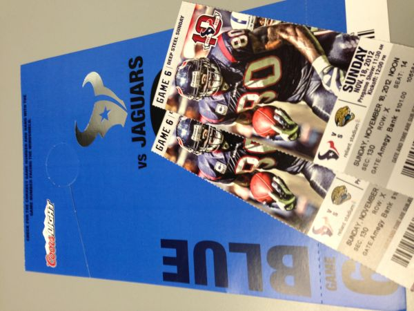 TEXANS VS JAGUARS 111812 FIELD LEVEL SEATS 2 Seats Plus Parking Pass - $400 (HOUSTON )