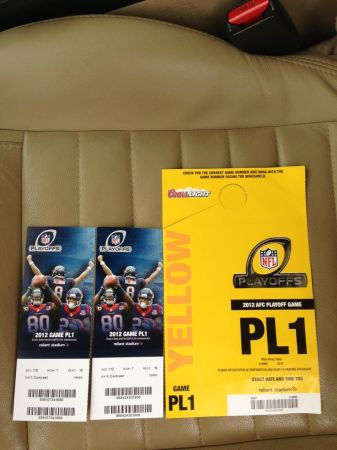 HOUSTON TEXANS VS CINCINNATI BENGALS TICKETS FIELD LEVELYELLOW PPASS - $240 (832-358-5682 (FOR SALE BY PSL OWNER))