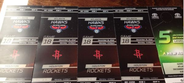 Houston Rockets Tickets Christmas Eve 123112 vs Atlanta Hawks - $800 (Baytown, TX)