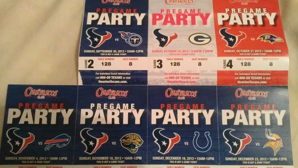 Texans vs Colts - 2 tickets to Churrascos pre-game party on Sun 1216 - $180 (will meet you)