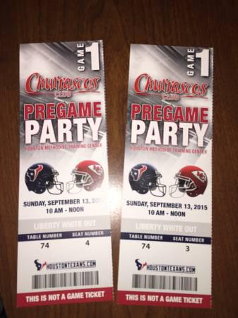 2 Churrascos VIP Pregame Party Tix - Texans vs. KC Chiefs - Sept. 13 - Call Now