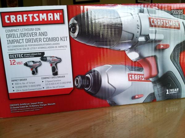 New Craftsman 12.0 Volt Lithium-Ion Drill and Impact Combo Kit - $65 (Medical Center (Houston))