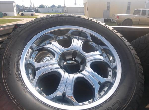 20 inch chevy rims and tires and 8 lug for rims and tires for trade (tomball)