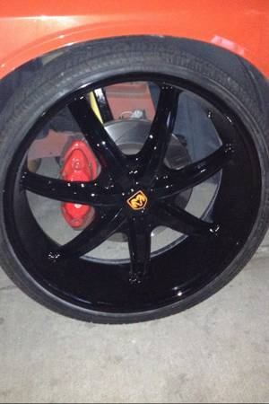 24 inch black rims with tires new - $1300 (Reliant area )