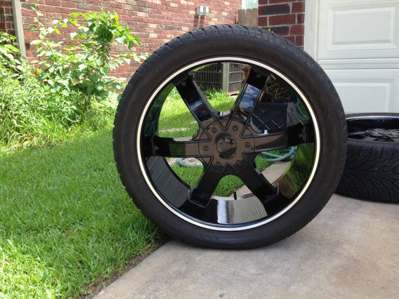 Ford f150 24 inch black rims and tires - $1400 (Houston)