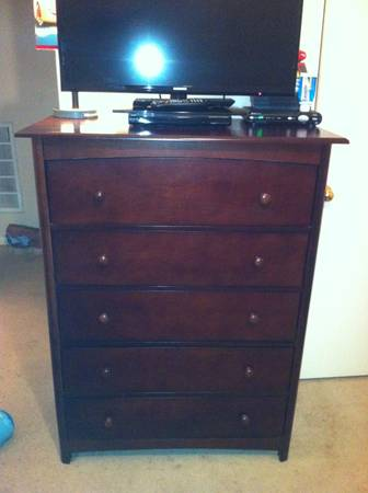Cherry Oak baby bed and dresser. Free Mattress - $250 (Katy)