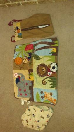 Lambs Ivy Team Safari 8 piece Crib Bedding Set and matching l - $150 (spring tx)
