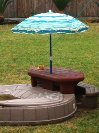 Sandbox with table and bench umbrella - $60 (Kirkwood Memorial)