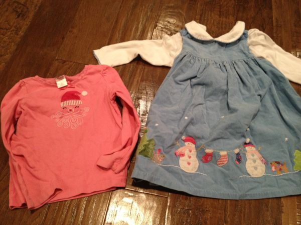 Girls Christmas Kitten Puppy dress embroidered size 4 sparkly holiday - $4 (near Memorial City mall)