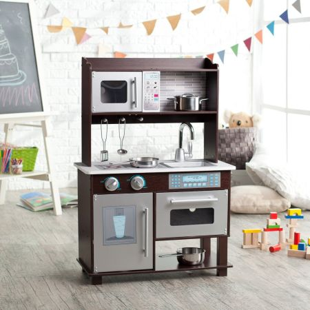 -NEW KidKraft Espresso Toddler Play Kitchen with Metal Accessory Set-- - $120 (Clear LakeWebster)