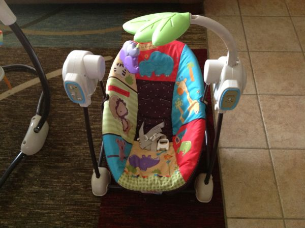 ,boppy pillow, travel swing, jumperoo, baby clothes - $10 (Spring)