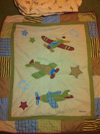 Baby Toddler mattress (crib size) and Airplane boy bedding - $40 (meyerland)