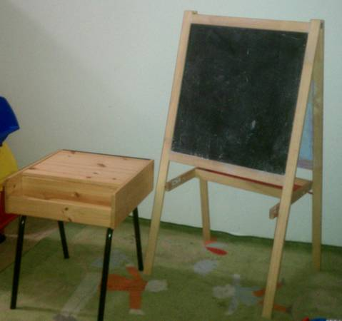 ikea easel chalk white board and desk - $40 (copperfield)