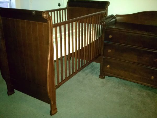 Dark Cherry Solid Wood Crib and DresserChanger - $280 (NW290)
