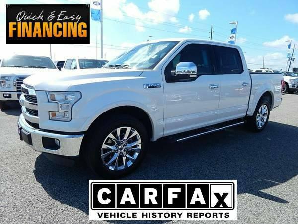 $45,989, 2015 Ford F150 Super Crew Lariat White Platinum Metallic 10,370 mi