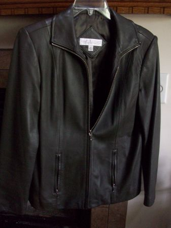 Brown Leather Jacket-Med - $35 (Tomball TX)