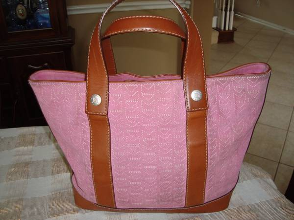 AUTHENTIC MICHAEL KORS MK Brown leather wPINK Suede TOTE - $75 (Cinco Ranch - KATY)