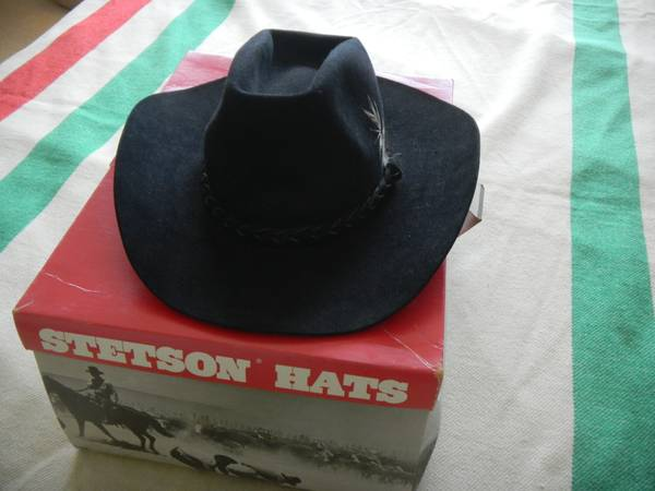 Stetson 4X Beaver hat 7-38, black - $25 (Katy, Texas)