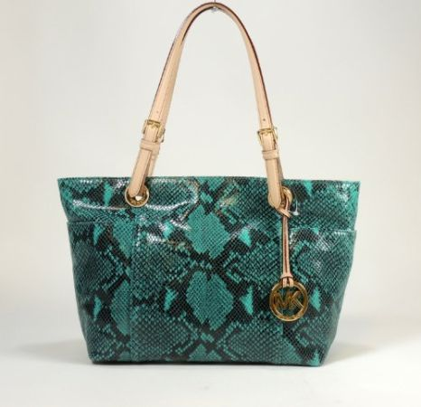 MICHAEL KORS TOP ZIP LEATHER TOTE HANDBAG PYTHON AQUA NWT - $150 (Katy)