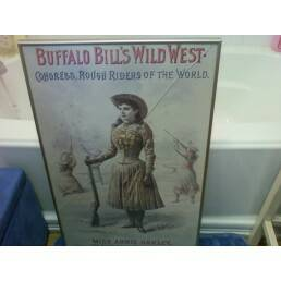 HUGE RARE ANNIE OAKLEY WESTERN ART FRAMED (Tomball)