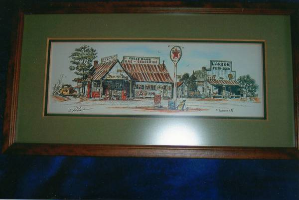 Framed and Double Matted Print Cross Roads Station by Al Richardson - $20 (Beechnut Gessner)