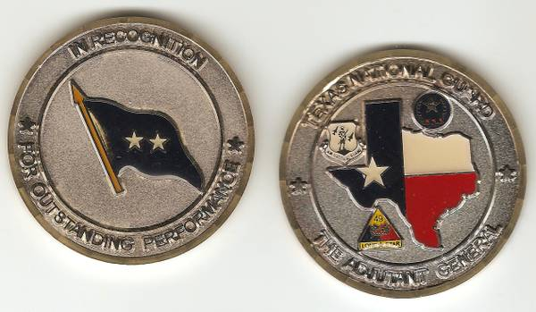 Texas National Guard Challenge Coin given by Adjutant General - $20 (Pasadena)