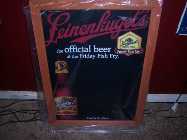 Leinenkugel Fish Fry Chalkboard Beer Sign, other LED, Neon Signs