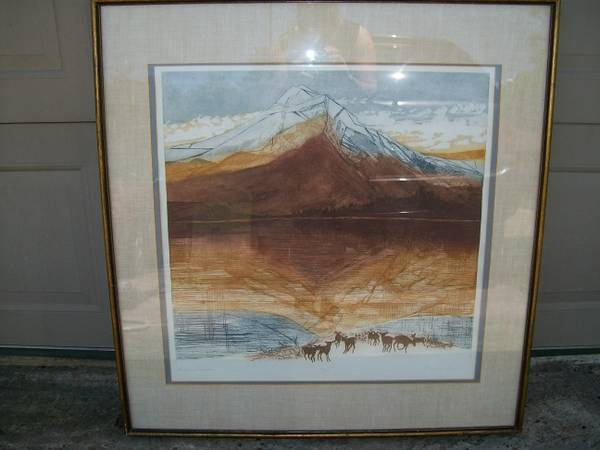 Huge 70s Numbered Etching Signed Russa Graeme Great Divide Painting - $250 (Friendswood 77546)