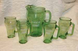 Vintage RARE Cowboy WHATABURGER Coke Coca-Cola Pitcher 4 Glasses - x002455 (WoodlandsSpringGreenspoint)